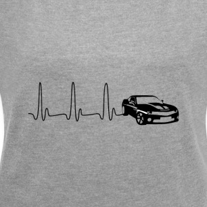 EKG heart line sports car - Women's T-shirt with rolled up sleeves