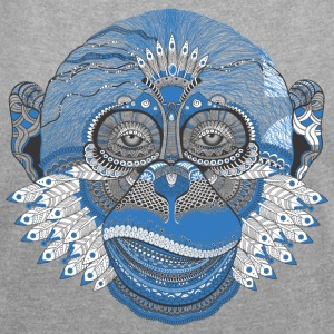 Monkey monkey skull monkey head Indian Style - Women's T-shirt with rolled up sleeves