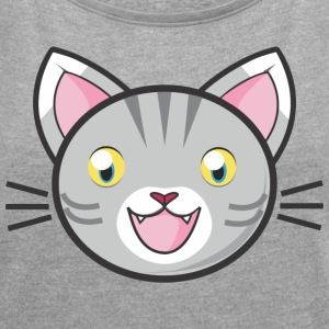 Comic Manga Cat Kitty Mitz kitten sweet meow - Women's T-shirt with rolled up sleeves