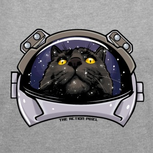 Kitty Cat Cosmos - Frauen T-Shirt mit gerollten Ärmeln