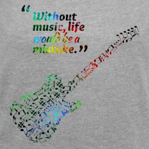 Guitar note - Women's T-shirt with rolled up sleeves