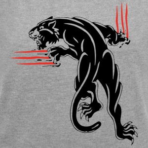 BLACK ANIMAL JUNGLE WILD CAT - Women's T-shirt with rolled up sleeves