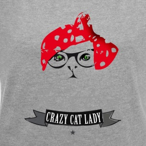 katt hipster kitty crazy cat lady rødt skaut br - T-skjorte med rulleermer for kvinner