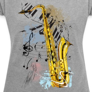 Saxophone Magic - Women's T-shirt with rolled up sleeves