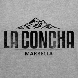 La Concha Faded Black Vintage Logo - Women's T-shirt with rolled up sleeves