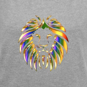 Stylish design in lion motif - Women's T-shirt with rolled up sleeves