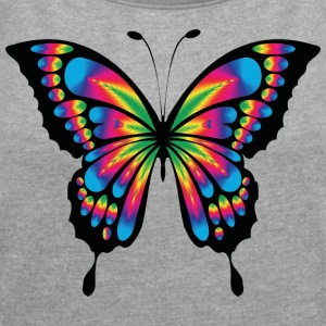 Multicolor psychedelic butterfly - Women's T-shirt with rolled up sleeves