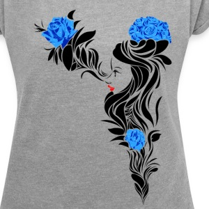 Blue Flowers - Women's T-shirt with rolled up sleeves