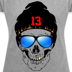 Skull Design 1 - Women's T-shirt with rolled up sleeves