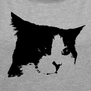 Black / White Cat - Women's T-shirt with rolled up sleeves