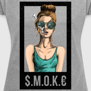 $ .MOK € - Women's T-shirt with rolled up sleeves