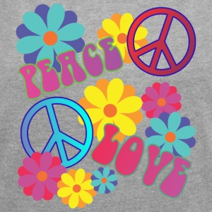 love peace hippie flower power - Frauen T-Shirt mit gerollten Ärmeln