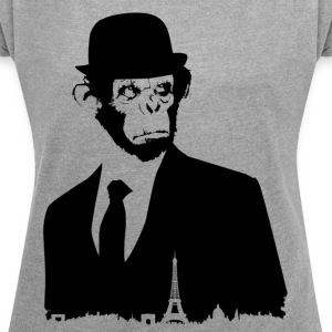 MONKEY BLACK COLLECTION * PARIS * - T-skjorte med rulleermer for kvinner