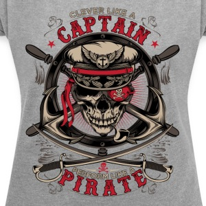 captain pirate - Women's T-shirt with rolled up sleeves