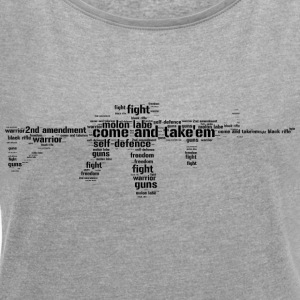 ar15 black rifle tacticool word cloud - Women's T-shirt with rolled up sleeves