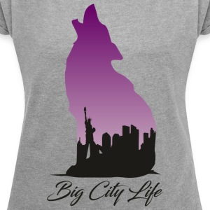 Wolf i New York Design - Big City Life - T-shirt med upprullade ärmar dam