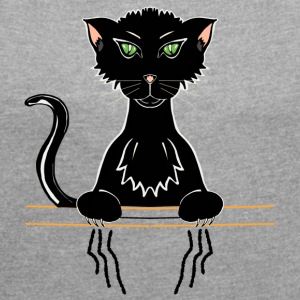 black cat - Women's T-shirt with rolled up sleeves