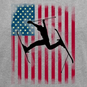 ski-jump stunt freestyle Bogner Team USA flag - Women's T-shirt with rolled up sleeves