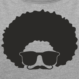 PELO_GAFAS_BIGOTE - Women's T-shirt with rolled up sleeves