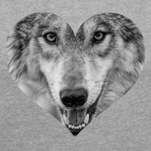 A heart for Wolves - Women's T-shirt with rolled up sleeves