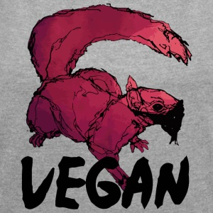 Vegan squirrel - Women's T-shirt with rolled up sleeves