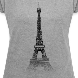 Around The World: Eiffel Tower - Paris - T-skjorte med rulleermer for kvinner