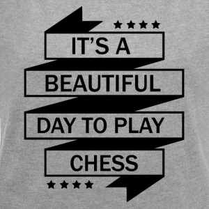 DET perfekt dag for CHESS at spille! - Dame T-shirt med rulleærmer