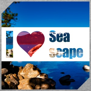 I love Seascape - Women's T-shirt with rolled up sleeves