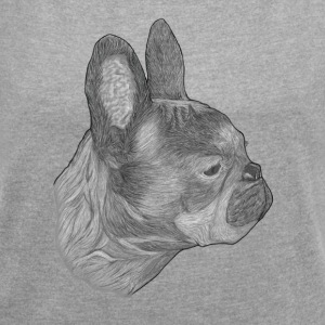 Dog French Bulldog - Women's T-shirt with rolled up sleeves