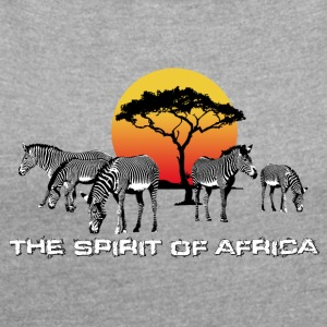 the Spirit of Africa Zebras Sonnenuntergang Safari - Frauen T-Shirt mit gerollten Ärmeln