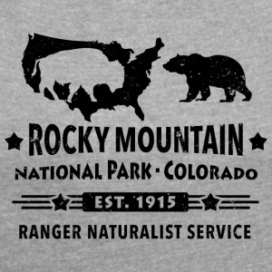 Bison Grizzly Rocky Mountain National Park Mountains - Women's T-shirt with rolled up sleeves