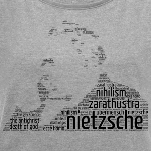 nietzsche stencil word cloud - Women's T-shirt with rolled up sleeves