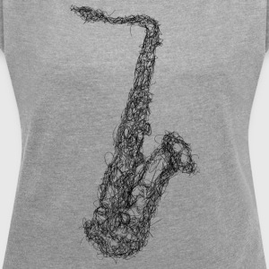 Saxophone Scribble - Women's T-shirt with rolled up sleeves