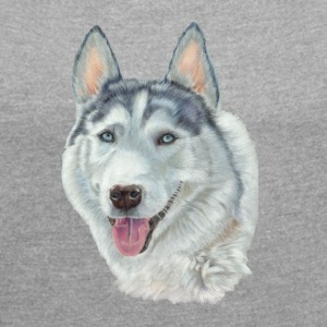 siberian husky_blueeyes - Women's T-shirt with rolled up sleeves