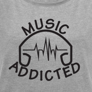 MUSIC_ADDICTED-2 - T-skjorte med rulleermer for kvinner