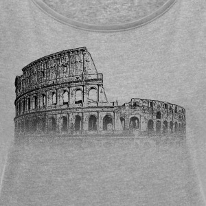 Around The World: Colosseum - Rome - Women's T-shirt with rolled up sleeves