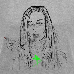 smoking girl - Women's T-shirt with rolled up sleeves
