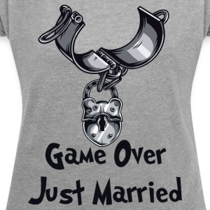 Game Over Just Married - T-skjorte med rulleermer for kvinner