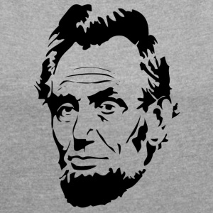Face of President Abraham Lincoln - Women's T-shirt with rolled up sleeves