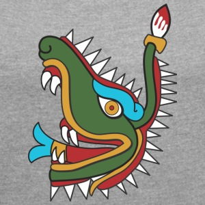 Mayan crocodile - Women's T-shirt with rolled up sleeves