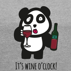 Drinking Panda - It's wine o'clock - Women's T-shirt with rolled up sleeves