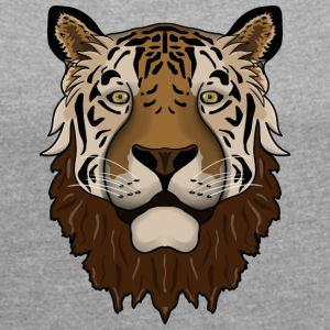 Bearded tiger - Women's T-shirt with rolled up sleeves