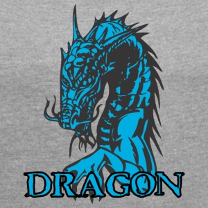 agry looking dragon - Women's T-shirt with rolled up sleeves