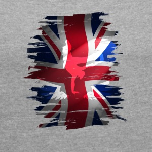 Union Jack flag britain Stunt England destroyed ro - Women's T-shirt with rolled up sleeves