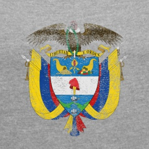 Colombian Coat of Arms Colombia Symbol - T-shirt med upprullade ärmar dam