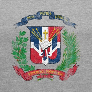 Dominican Coat of Arms Dominican Republic Symbol - Women's T-shirt with rolled up sleeves