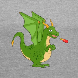 Green Dragon - Women's T-shirt with rolled up sleeves