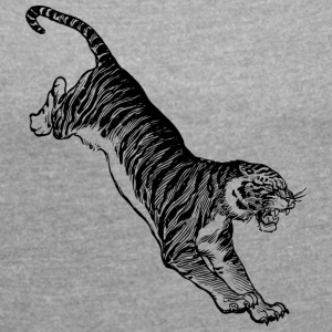 Tiger africa black and withe - Women's T-shirt with rolled up sleeves