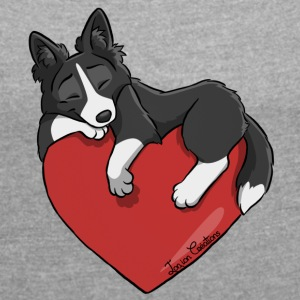 Border Collie Black Heart - T-shirt med upprullade ärmar dam