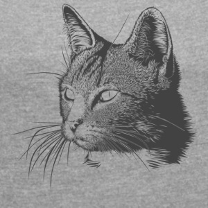 Beautiful cat - Women's T-shirt with rolled up sleeves